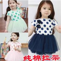 Cheap 2013 baby girl summer dress,dot bow short sleeve ball gown,tutu one-piece dress,baby summer clothing