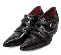 Wholesale 2013 NEW lie fallow buckles The punk tassel Alligator Pattern cusp men s leather shoes QQ14