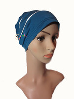 Cotton alopecia headwear - Hot sell comfortable Knitted Beanie headwear Skull Sleep hat Cancer Chemo hair loss Alopecia headbands Women headscarf