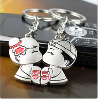 Wholesale Kiss Lover Key Ring Zinc Alloy Silver Bride Groom Magnet Key Chain Wedding Favor Bag Accessories Customizable