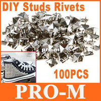 Wholesale 5sets mm quot Silver Pyramid Studs Rivet Spike Nickel Punk Bag Belt Leathercraft DIY