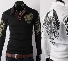 Wholesale monde new men s t Shirts Slim Korean long sleeve mens t shirts polo shirts Eagle Printing