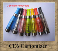 Wholesale CE4 CE5 CE6 Cartomizer Clearomizer ego colors removable no wick Heavy vapor no e liquid leaking