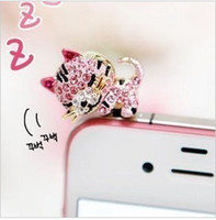 Wholesale Fashion Cute cat Diamond Phone Accessories Anti Dust Plug Ear Cap for mm