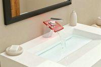 LED Chrome Ceramic new 3 color led bathroom basin sink mixer tap faucet brass HP040