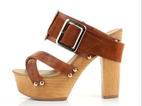 Wholesale 2013 womens dress shoes block heels shoes cross tie buckle pumps studded sandals waterproof shoes