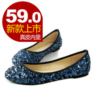 Wholesale comfortable formal bling paillette flat bottomed single shoes wedding shoes genuine leather liner plus size women s