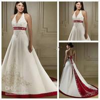 Reference Images halter top wedding dress - Top Novel Design V neck Halter Bridal Dresses Chic Applique Chapel Train Open Back Wedding Gowns