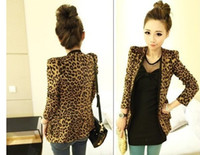 Women lined with striped suit coat  Formal 2013 New Women's pads suede fabric leopard print female suit Outerwear Coats jacket S M L size
