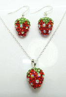 Wholesale Dazzling Shamballa Jewelry Red amp Green Pave Disco Crystal strawberry Necklace Earrings Sets sets
