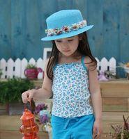 Wholesale Fashion Children Hats Flowe Pattern Kids Straw Hat Cute Girl Sunhat Topee Hot Selling Girl Hat