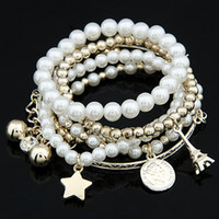 Wholesale Charming Multilayer Imitation Pearl Plastic Beads Hang Star Eiffel Tower Bangles Bracelet YN