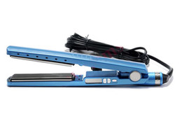 Wholesale PRO inch Titanium Ceramic Hair Straightening Straightener Flat Iron With LED Electronic Temper