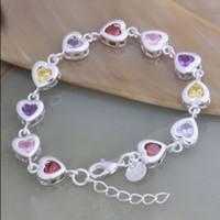 achat en gros de zircon bracelet de charme coeur-Bijoux de mode Bijoux de mode 925 en argent incrusté de zircon coeur charme bracelet de chaîne Livraison gratuite 10pcs