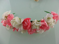 Wholesale Artificial flower Alice hair ribbon Wedding bridal hairhoop double color garland wreaths