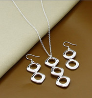 Earrings & Necklace asian square plates - 925 Silver Earrings Necklace Set Multilayer Square Pendant Women Ladies Wedding Engagement Elegant Jewelry Sets
