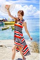 Women Swimdress Striped Striped dress beach dress , ice silk fabric swimwear