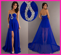 Wholesale Royal Blue Sweetheart Sequins Chiffon High Low Homecoming Prom Dresses E2910