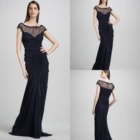 High Collar name brand evening dress - 2013 cap sleeves lace bodice bateau neck brand name formal long evening dress