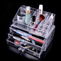 Wholesale USA stock x15x18 cm Fashion Clear Acrylic Crystal Cosmetic Organizer Makeup Case Holder Storage Box Gift Box SF