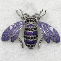 Other amethyst brooches - Amethyst Crystal Rhinestone Enamel Honey Bees Pin Brooch Fashion Brooches Jewelry C709 D
