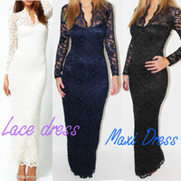 Wholesale Fashion Ladies Sexy V Neck Slim Scallop Neck Lace Women Maxi Dress Long Sleeve White Black Blue G0123
