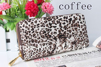 Wholesale Women Leopard Print Skull Clutch Bag chain Handbag women s long leather Purse Bag grasp wallet tote