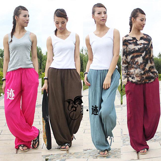 Online Cheap Womens Tribal Casual Loose Linen Yoga Sports ...