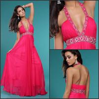 Reference Images Halter Chiffon Top charming halter floor length deep v neckline beaded backless long evening prom dress