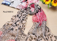 Wholesale HJ015 Long Charming Neck Women Soft Scarf Chiffon Custom Wedding Dress Scarf Red Colorful Leopard Shawl Printed X50CM New Style