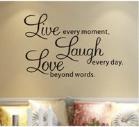 Removable art words - Decal quot Live every moment Laugh every day Love beyond words quot Wall Quote wall stickers Home decor