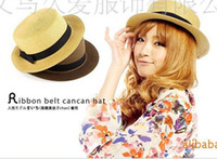 Wholesale Hot Sale Beach Butterfly Knot Fashion Flat Straw Sunscreen Broad Brimmed Womens Wide Brim Hat JAFS SF