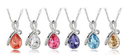 2013 NEW Fashion Unique Design Angel Tears Crystal Alloy the bow drop Bow Necklace Fashion woman Jewellery