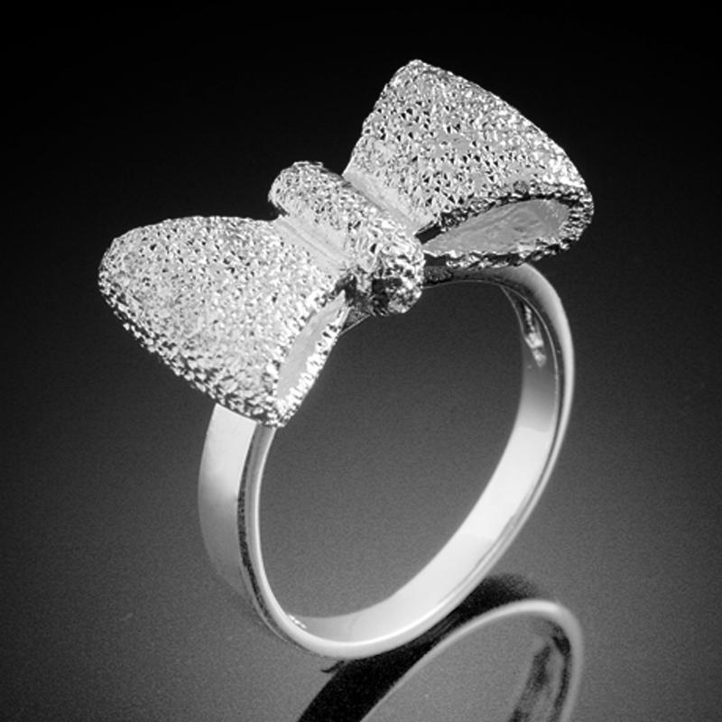 925 silver steel fashion costume jewelry rings bow shape
