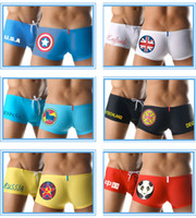 Wholesale Men Boy s Boxer Swimwear Swimming Trunks Shorts National Flag Fashion Logo