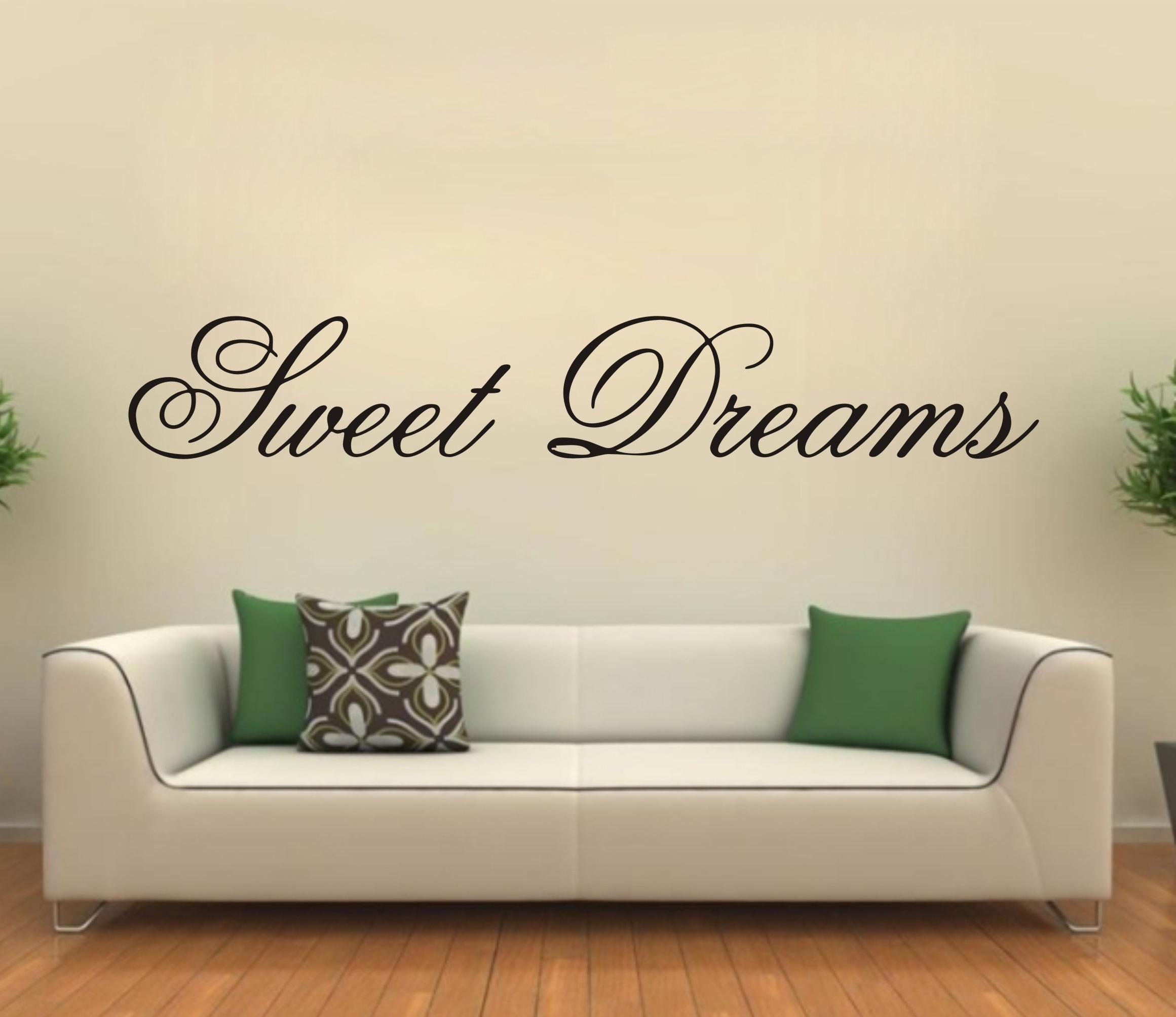 Modern wall sticker sweet dreams vinyl art mural living for Family room wall quotes