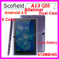 Wholesale Q8 Q88 quot Allwinner A13 Double Camera Andorid Tablet Epad Android Tablet PC GB F1 Tablet Color