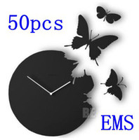 Digital   50pcs EMS Glossy DIY Butterfly Movement Wall Clock Home Decoration