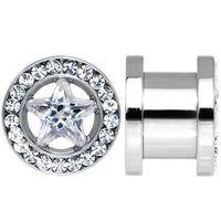 Wholesale Hot Sale Free Ship Clear CZ Stone Star Ear Plug l stainless steel Body Piercing Jewelry