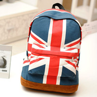 Wholesale New hot British American canvas flag backpack fashion large capacity schoolbag