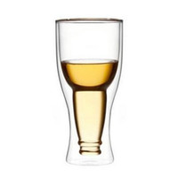 Wholesale inverted bottle cup double wall glass beer milk juice cup