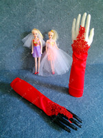 Wholesale Ready to wear Red Fingerless Beaded Wedding Accessories Prom Gloves Bridal Gloves G14