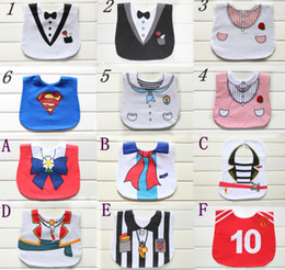 Wholesale Baby Tuxedo Gentleman Feeding Bibs Baby Kids Waterproof Superman Pinny Burp Cloths Designs
