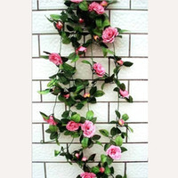Wholesale Artificial Rose Garland Silk Flower Vine for Home Wedding Garden Decoration
