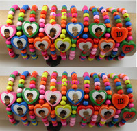 Wholesale 24X d One Direction Wood beads Stretch Bracelets Lovely and Cute d Wristbands Jewelry