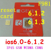 Wholesale F981 GEVEY Ultra S Unlocks sim card Original reset card for iphone S iOS6 GSM