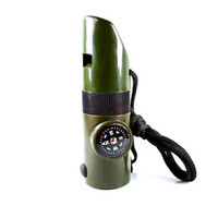 Wholesale 7 in outdoor multifunctional rescue whistle mini flashlight Camping Compass