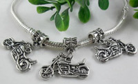 motorcycle charms - 65pcs Tibetan silver Motorcycle Charm Beads Suitable Pan Tinto Pull Bracelet x25mm