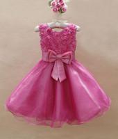 Summer autumn rose wedding - Baby girls Princess wedding party D flower rose fashion Dress kids girl bow tutu lace tulle dresses