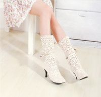 Half Boots Knight Boots Women 2014 Hot Women Knitting wool Hollow out Summer boots High heels boots